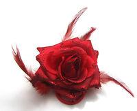 Red Rose Flower Feather Headdress Fascinator Wrist Corsage Hair Band Brooch