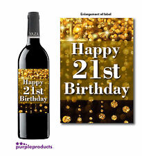 HAPPY 21st BIRTHDAY GOLD DUST DESIGN WINE BOTTLE LABEL GIFT