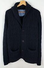 Gant Men Jumper Cardigan Button Front Heavy Cotton Cable Knit Navy Blue Casual L