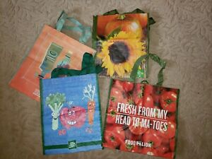 4 Pk Grocery Foldable Reusable Shopping Grab Bags Eco Friendly