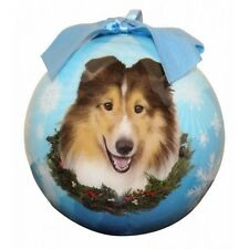 Sheltie Christmas Ornament Blue Shatter Proof Ball Dog Snowflakes New Wreath