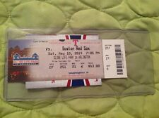 TEXAS RANGERS GAME USED TICKET VS RED SOX & POCKET SCHEDULE 2014 GLOBE LIFE PARK