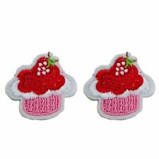 2 x Embroidered pink cupcake iron / sew on patch motif applique badge DIY baby