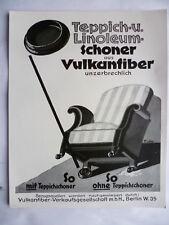 Werbeblatt Vulkanfiber Teppichschoner 1930er Jahre
