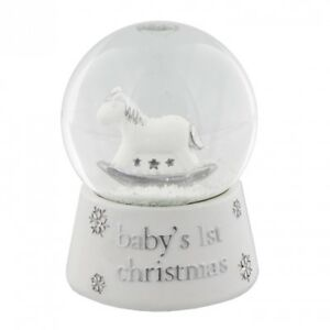 Babys First Christmas snow globe with horse by Gisela Graham