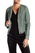 Muubaa Women's Leather Biker Jacket Slim Fit SHADOW Size US 6, UK 10 $525
