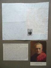 Autografo Beato Cardinale Andrea Carlo Ferrari Trezzo Adda 1901 Guidetti Cesari