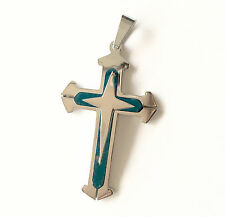 Blue Crucifix Pendant With 5mm  Cuban Curb Necklace  - Stainless Steel 316 L