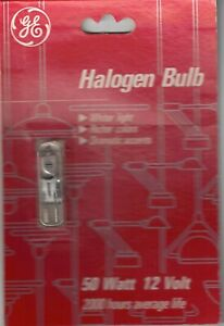 GE 50 watt T4 bulb 12 volt 2000 hours Halogen Clear NEW (Never Opened)