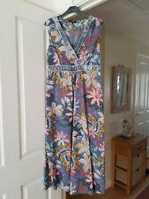 Gorgeous Debenhams Blue Multi Floral Dress, Sleeveless, 100% Cotton, Size 14, GC