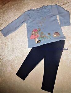 MONSOON BABY GIRLS OLIVIA SQUIRREL HEDGEHOG BLUE TOP & LEGGINGS SET AGE 0-2 YEAR