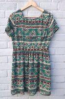Boohoo Green Short Sleeve Paisley Print Dress Size 12