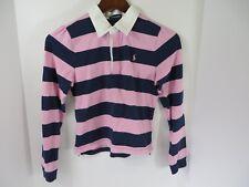 Ralph Lauren Girls Polo Shirt Long Sleeve Pink Navy Stripe Size Large  #7137