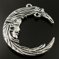 10pcs Vintage Silver Tone Alloy Crescent Moon Shaped Jewelry Pendants Charms DIY