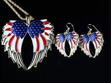 Betsey Johnson Necklace  Angel Wings PATRIOTIC Crystals Enamel  Earrings Too