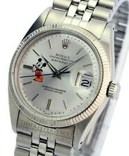 Rolex Datejust 1601 Mens Stainless Steel White Gold  Silver Mickey Arrow Hands