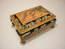 Vintage Trinket Box - Tin Metal - Ornate Scenic Footed Figural - Western Germany