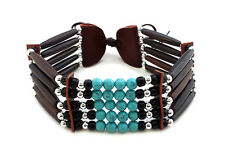 Traditional Native American Style 5 Row Buffalo Bone Hairpipe Choker Necklace