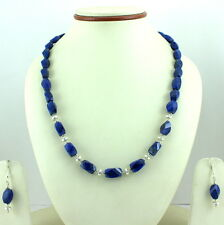 925 SOLID STERLING SILVER NATURAL FACETED LAPIS LAZULI GEMSTONE NECKLES,EARRINGS