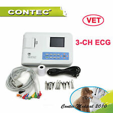Veterinary VET  3 CH ECG EkG machine électrocardiographe electrocardiograph