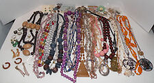 60 pc lot Costume Jewelry Vintage Modern Necklaces Rings pins Wood Beads Crafts