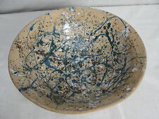 Hand Thrown Pottery Large Bowl Beautiful Teal Blue, Forest Green drips Signed.