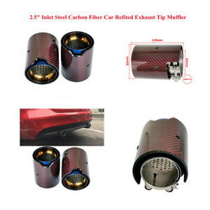 """Glossy Carbon Fiber Auto Modified Exhaust Tail Pipe Muffler End Tip 2.5"""" Inlet"""