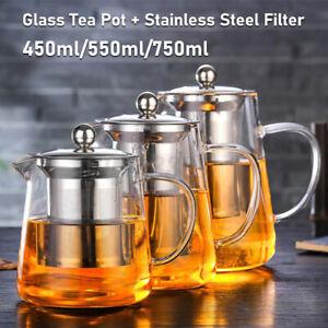 Heat Resistant Glass Teapot with Strainer Filter Infuser Tea Pot 450/ 550/ 750ml