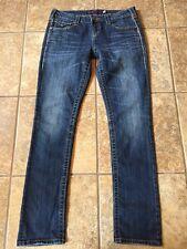"Vigoss Jeans Straight Cut Size 7 Thick Stitch Flap Pocket Women 32"" Inseam"
