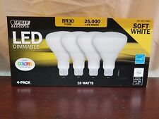 Feit Electric LED Dimmable 65W Soft White BR30 Flood 4 Pack - 10 Watts - NEW