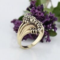 10k Yellow Gold Vintage Swirl Diamond Cluster Ring .30 tcw Size 7.25