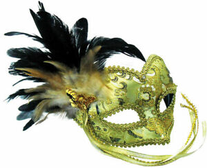 GOLD BRAIDED EYE MASK FEATHER ON HEADBAND MASQUERADE, FANCY DRESS ACCESSORY M393