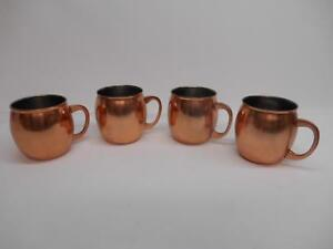 Old Vtg THRESHOLD COPPER PLATED MOSCOW MULE MUG CUPS TANKARD SET 4 Made India