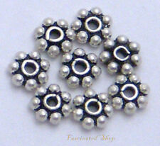 925 Bali Sterling Silver 6mm Flower Daisy Spacer beads Handcrafted 30pcs. New .