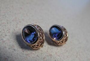 Russian Soviet Earrings Rose Pink Gold Amethyst stone clip-on stamp 585 14K