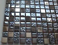 Naturstein-Glasmosaik braun metallic rustikal, 30 x 30 cm, 8 mm Stärke