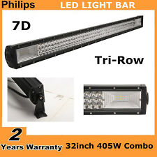 405W 32inch LED Light Bar 7D Tri-Row Combo Truck SUV Jeep UTE Boat Off-road Lamp