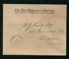 GB 1935 OFFICIAL PAID KRAG MACHINE HOME OFFICE CROWN HANDSTAMP OHMS