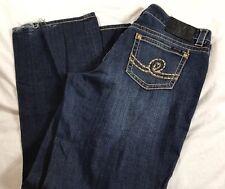 """Seven 7 Women's Dark Wash Blue Denim Straight Jeans Inseam 31 1/2"""" Size 16"""