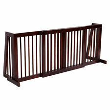 Folding Adjustable Free Standing 3 Panel Wood Pet Dog Slide Gate Safety Fence