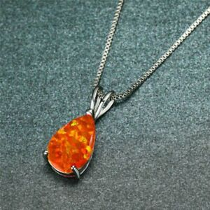Sterling Silver Dipped Water Drop Orange Fire Opal Necklace Pendant With Chain