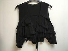 All Saints Mona shrug black silk ruffle top tie front cropped magnolia pearl 12