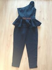 ASOS Black Embellished Peplum Jumpsuit Size 12 Not Zara