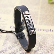 Fashion Men's Alloy Leather Stainless Steel Cuff Bangle Bracelet Wristband Black