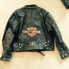 Vintage Genuine leather Biker Jacket w long shield harley patch & studded bomber