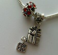 2pcs Murano Bead Silver Czech Spacer Dangle Charm European Bracelet Valentines