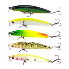5Pcs 3.34'' Minnow Fishing Lures Crankbaits Wobbler Hooks Bass Tackle 8.5cm 7.4g