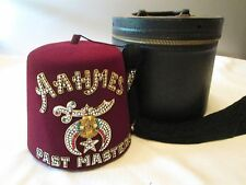 Masonic Shriners Lodge Jeweled AaHMES Pastmasters  Tasseled Hat with Case,