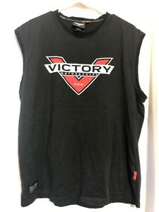 Victory Motorcycle USA Men's Black Sleeveless Tee Shirt Large Tank Muscle