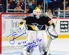 TOM BARRASSO  PITTSBURGH PANTHERS  91'92' STANLEY CUP CHAMPS  ACTION SIGNED 8x10